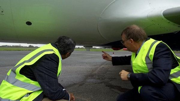 Een antenne van het EAN onder een vliegtuig (bron: Nokia)