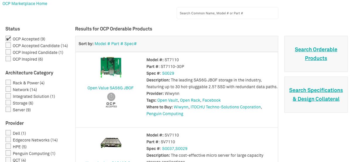 De OCP Marketplace van het Open Compute Project