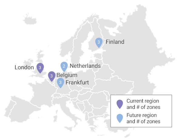 De huidige en toekomstige Europese regio's van het Google Cloud Platform (bron: Google)